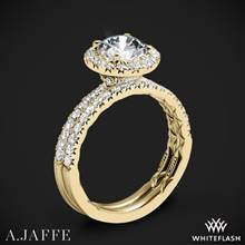 18k Yellow Gold A. Jaffe ME2167Q Classics Halo Diamond Wedding Set | Whiteflash