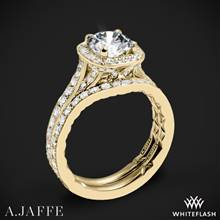 18k Yellow Gold A. Jaffe ME2256Q Halo Diamond Wedding Set | Whiteflash