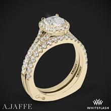 18k Yellow Gold A. Jaffe MES576 Metropolitan Halo Diamond Wedding Set | Whiteflash