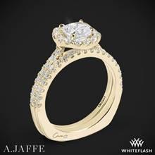 18k Yellow Gold A. Jaffe MES577 Metropolitan Halo Diamond Wedding Set | Whiteflash