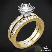 18k Yellow Gold Bead-Set Diamond Wedding Set with White Gold Head | Whiteflash