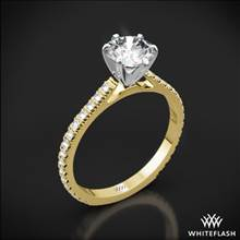 18k Yellow Gold Cathedral French-Set Diamond Engagement Ring with White Gold Head | Whiteflash