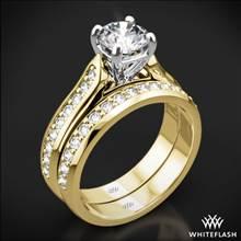 18k Yellow Gold Cathedral Pave Diamond Wedding Set | Whiteflash