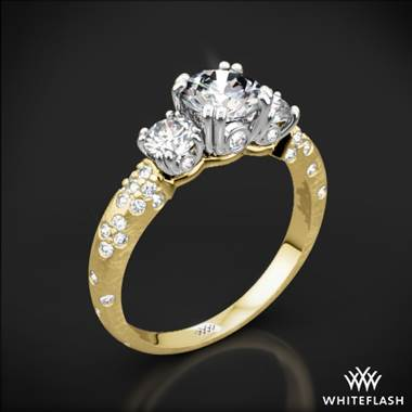 18k Yellow Gold Champagne Petite 3 Stone Engagement Ring with White Gold Head (Setting Only)