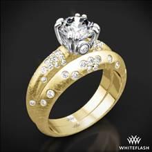 18k Yellow Gold Champagne Petite Pave Diamond Wedding Set | Whiteflash