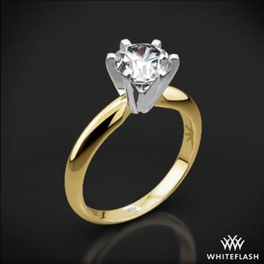 18k Yellow Gold Classic 6 Prong Solitaire Engagement Ring with Platinum Head