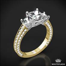 18k Yellow Gold Coeur de Clara Ashley 3 Stone Diamond Engagement Ring for Princess with White Gold Head | Whiteflash