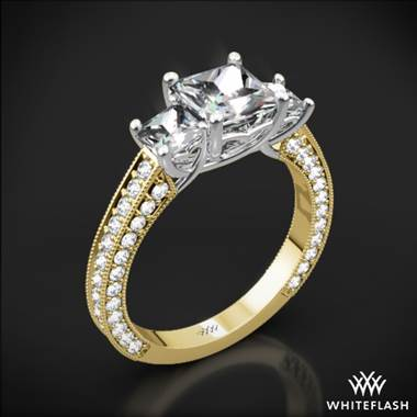 18k Yellow Gold Coeur de Clara Ashley 3 Stone Diamond Engagement Ring for Princess with White Gold Head