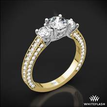 18k Yellow Gold Coeur de Clara Ashley 3 Stone Diamond Engagement Ring with White Gold Head | Whiteflash