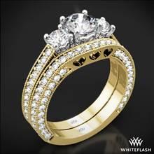 18k Yellow Gold Coeur de Clara Ashley Three Stone Wedding Set | Whiteflash