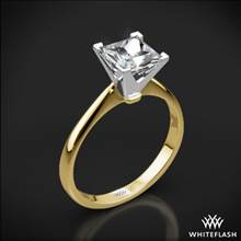 18k Yellow Gold Contemporary Solitaire Engagement Ring for Princess with White Gold Head | Whiteflash