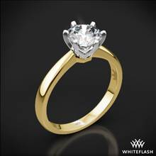 18k Yellow Gold Contemporary Solitaire Engagement Ring with White Gold Head | Whiteflash