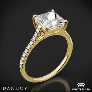 18k Yellow Gold Danhov CL138P Classico Single Shank Diamond Engagement Ring for Princess
