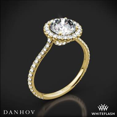 18k Yellow Gold Danhov LE112 Per Lei Halo Diamond Engagement Ring