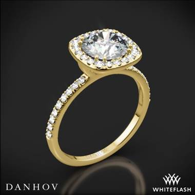 18k Yellow Gold Danhov LE125 Per Lei Halo Diamond Engagement Ring