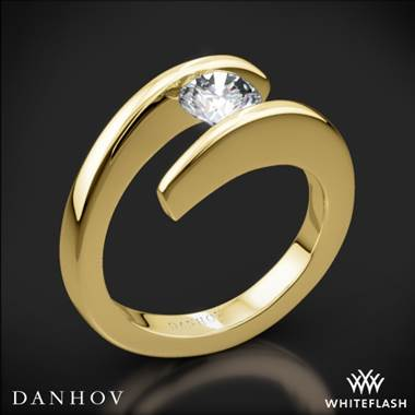 18k Yellow Gold Danhov V119 Voltaggio Tension-Set Solitaire Engagement Ring