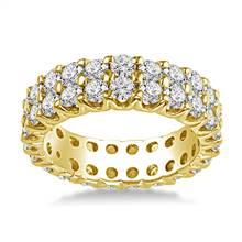 18K Yellow Gold Dual Row Diamond Eternity Ring (2.94 - 3.50 cttw.) | B2C Jewels