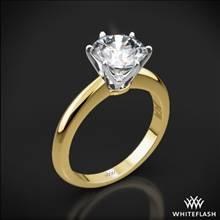 18k Yellow Gold Elegant Solitaire Engagement Ring with White Gold Head | Whiteflash