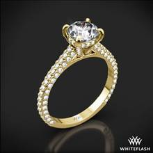 18k Yellow Gold Elena Rounded Pave Diamond Engagement Ring | Whiteflash