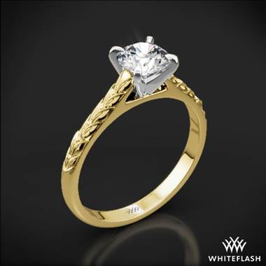 18k Yellow Gold Engraved Cathedral Solitaire Engagement Ring with Platinum Head