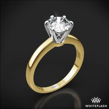 18k Yellow Gold Exquisite Half Round Solitaire Engagement Ring with White Gold Head