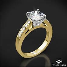 18k Yellow Gold Flush-Fit Diamond Engagement Ring with White Gold Head | Whiteflash