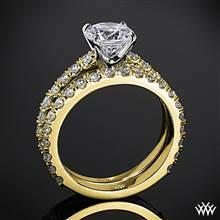 18k Yellow Gold French-Set Diamond Wedding Set | Whiteflash