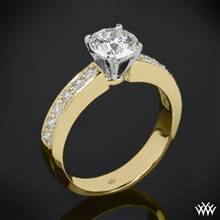 18k Yellow Gold Half Eternity Bead-Set Diamond Engagement Ring with Platinum Head | Whiteflash