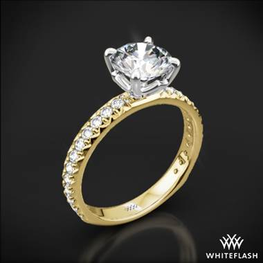 18k Yellow Gold Harmony Diamond Engagement Ring with White Gold Head