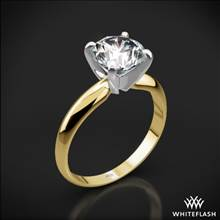 18k Yellow Gold Heavy 4 Prong Solitaire Engagement Ring with Platinum Head | Whiteflash