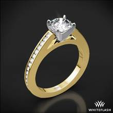 18k Yellow Gold Honey Channel-Set Diamond Engagement Ring with Platinum Head | Whiteflash