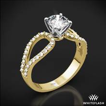 18k Yellow Gold Infinity Diamond Engagement Ring with White Gold Head | Whiteflash