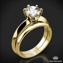 18k Yellow Gold Knife-Edge Solitaire Wedding Set | Whiteflash