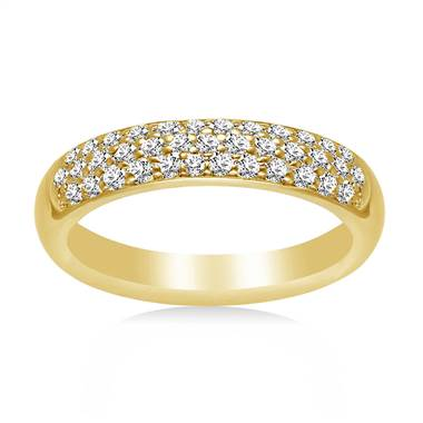 18K Yellow Gold Ladies Diamond Band In Pave Setting