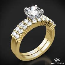 18k Yellow Gold Legato Shared Prong Diamond Wedding Set | Whiteflash