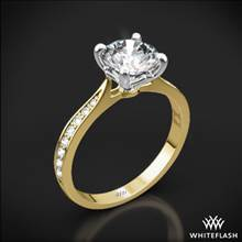 18k Yellow Gold Legato Sleek Line Pave Diamond Engagement Ring with White Gold Head | Whiteflash