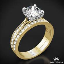 18k Yellow Gold Legato Sleek Line Pave Diamond Wedding Set | Whiteflash