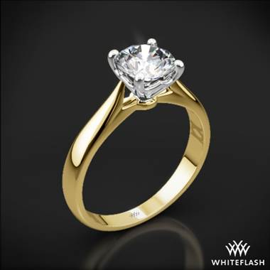 18k Yellow Gold Legato Sleek Line Solitaire Engagement Ring with White Gold Head
