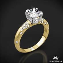 18k Yellow Gold Petite Champagne Pave Diamond Engagement Ring with White Gold Head | Whiteflash