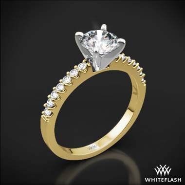 18k Yellow Gold Petite Diamond Engagement Ring with Platinum Head