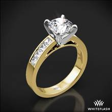 18k Yellow Gold Princess Channel-Set Diamond Engagement Ring with Platinum Head | Whiteflash