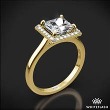 18k Yellow Gold Princess Halo Solitaire Engagement Ring | Whiteflash