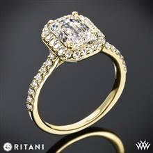 18k Yellow Gold Ritani 1EMZ1323 French-Set Halo Diamond Engagement Ring for Emerald | Whiteflash