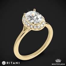 18k Yellow Gold Ritani 1OZ1332 Halo Solitaire Engagement Ring | Whiteflash