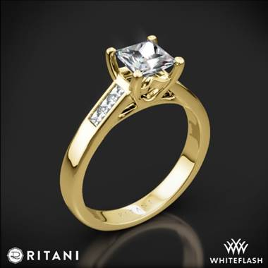 18k Yellow Gold Ritani 1PCZ1193 Channel-Set Diamond Engagement Ring for Princess