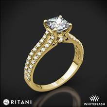 18k Yellow Gold Ritani 1PCZ2488 Double French-Set 'V' Diamond Engagement Ring for Princess | Whiteflash