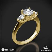 18k Yellow Gold Ritani 1RZ1010P Three Stone Engagement Ring with Pear-Cut Diamonds | Whiteflash