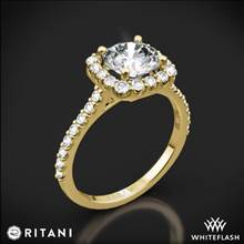 18k Yellow Gold Ritani 1RZ1321 French-Set Halo Diamond Engagement Ring | Whiteflash