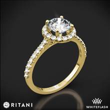 18k Yellow Gold Ritani 1RZ1323 French-Set Halo Diamond Engagement Ring | Whiteflash