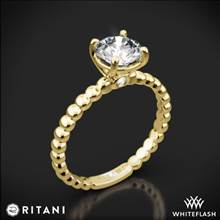 18k Yellow Gold Ritani 1RZ1325 Surprise Diamond Beaded Solitaire Engagement Ring | Whiteflash